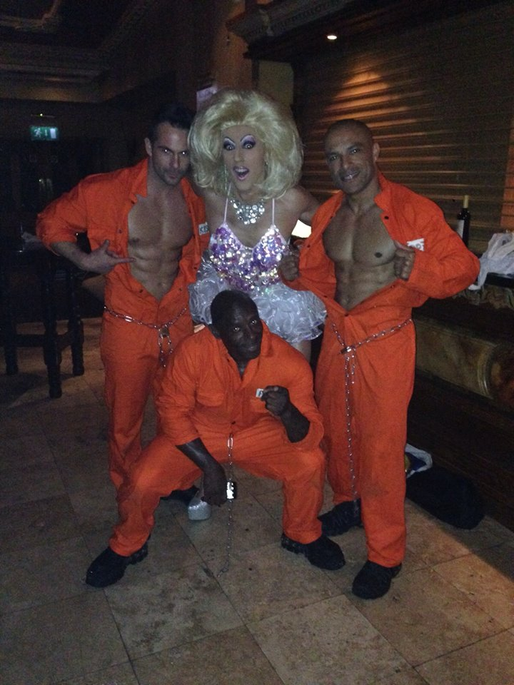 Fonda with 2 hunky strippers at a ladies night