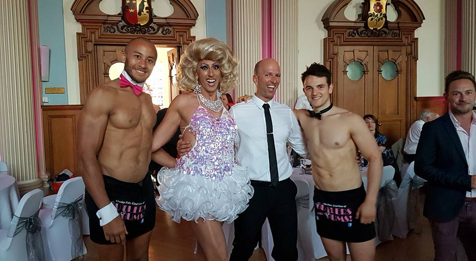 Fonda at a gay wedding with her husband and 2 strippers