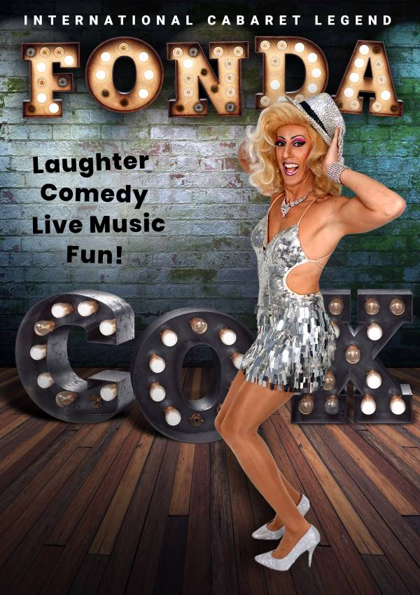 Fonda Cox A3 Poster with Laughter, Comedy, Live Music, Fun! text